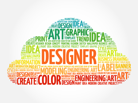 disciplines: DESIGNER word cloud, creative business concept background Illustration