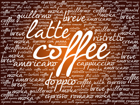 hot cup: List of coffee drinks words cloud, poster background Illustration