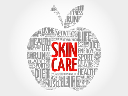 spa collage: Skin care apple word cloud, health concept Illustration
