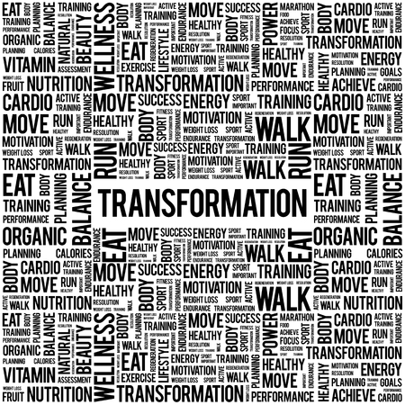 transformation: TRANSFORMATION word cloud background, health concept Illustration