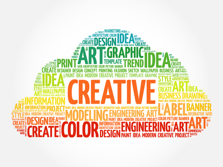 ingenuity: CREATIVE word cloud, creative business concept background Illustration