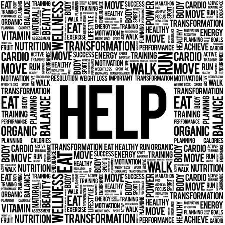 needy: HELP word cloud background, health concept