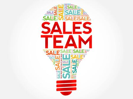 Sales Team bulb word cloud, business concept background