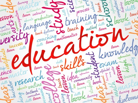 ability to speak: EDUCATION word cloud collage, background concept