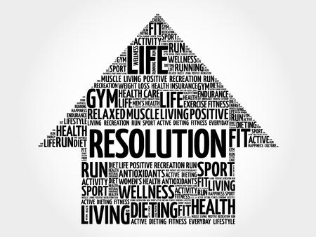 resolution: RESOLUTION arrow word cloud, health concept Illustration