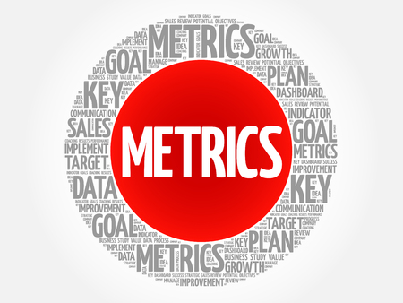 metrics: Metrics circle word cloud, business concept background