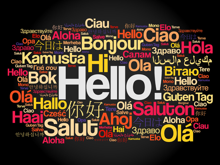 Hello word cloud in different languages of the world, background concept Stock Illustratie