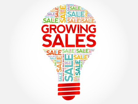 leadership key: Growing Sales bulb word cloud, business concept background