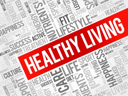 healthy living: Healthy Living word cloud background, health concept
