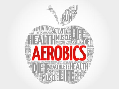 aerobic treatment: Aerobics apple word cloud, health concept