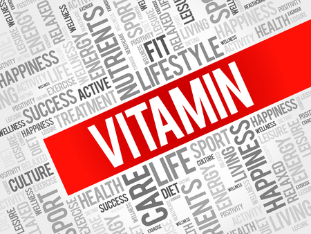 reducing: VITAMIN word cloud background, health concept
