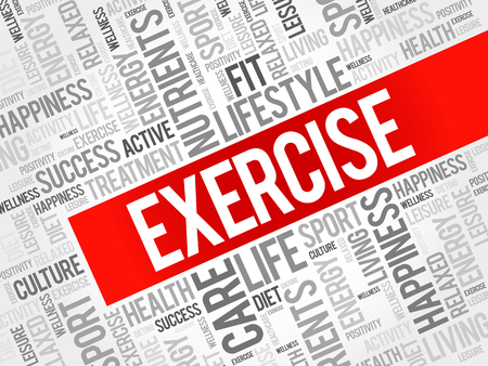 physique: EXERCISE word cloud background, health concept Illustration