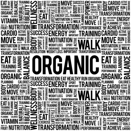 increase fruit: ORGANIC word cloud background, health concept