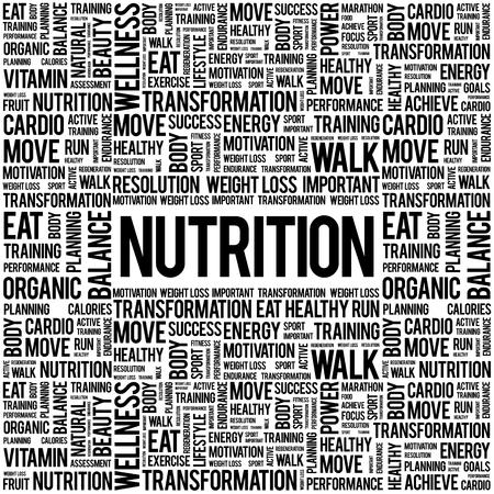 Nutrition word cloud background, health concept Vektorové ilustrace