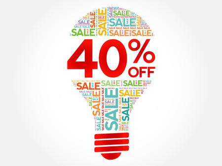 40% OFF SALE Glühbirne Wortwolke, Business-Konzept Hintergrund Vektorgrafik