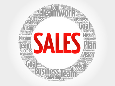 relationsip: SALES circle word cloud, business concept