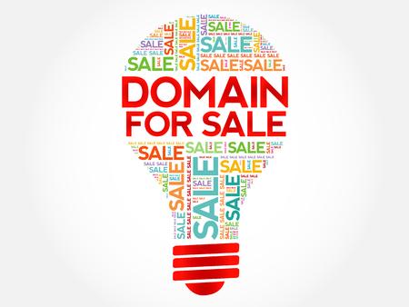 DOMAIN FOR SALE nuvola parola bulbo, sfondo concetto di business
