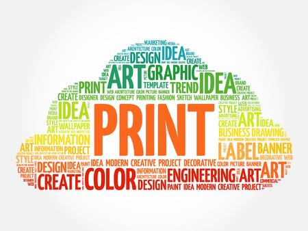 PRINT word cloud, creative business concept background Vetores