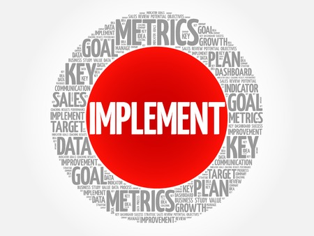Implement circle word cloud, business concept background Vektoros illusztráció