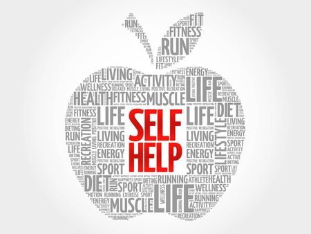 belonging: Self Help apple word cloud, health concept Illustration
