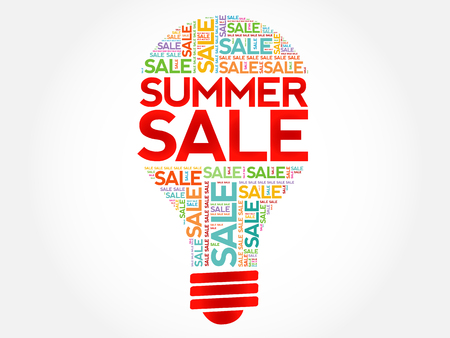 hot summer: SUMMER SALE bulb word cloud, business concept background
