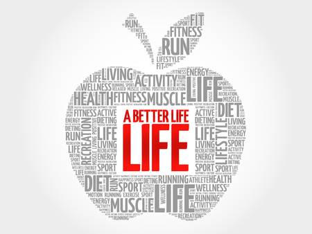 live feeling: A Better Life apple word cloud, health concept Illustration