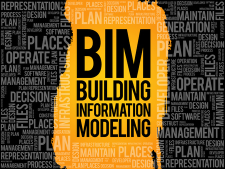 developement: BIM - building information modeling word cloud, business concept