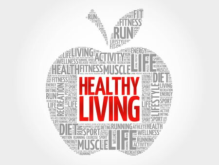 healthy living: Healthy Living apple word cloud, health concept