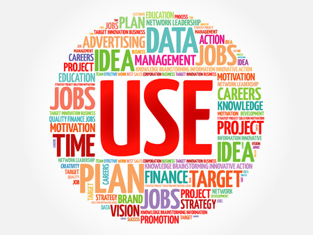 use: USE word cloud, business concept