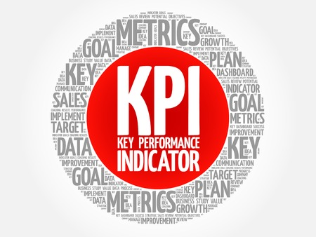 define: KPI - Key Performance Indicator circle word cloud, business concept background Illustration