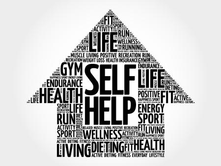 self help: Self Help arrow word cloud, health concept