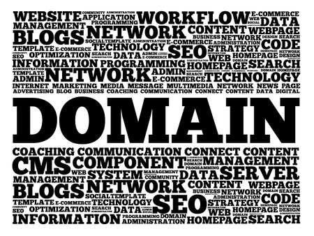 creation of sites: DOMAIN word cloud, business concept Illustration