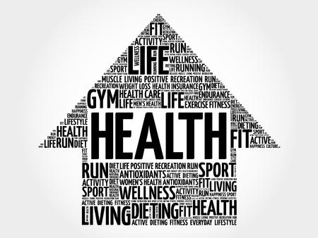 surgery expenses: Health arrow word cloud, health concept