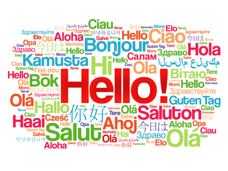Hello word cloud in different languages of the world, background concept Ilustração