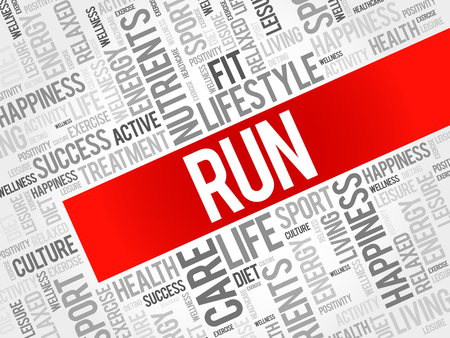 destress: RUN word cloud background, health concept