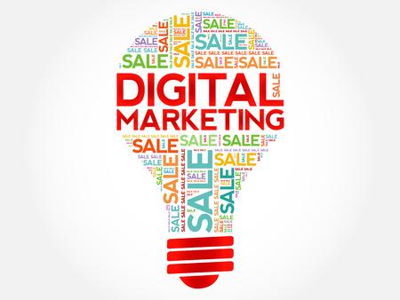 decoding: Digital Marketing bulb word cloud, business concept background Illustration