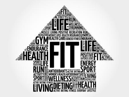fit: FIT arrrow word cloud, health concept