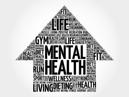 mentally: Mental health arrow word cloud, health concept
