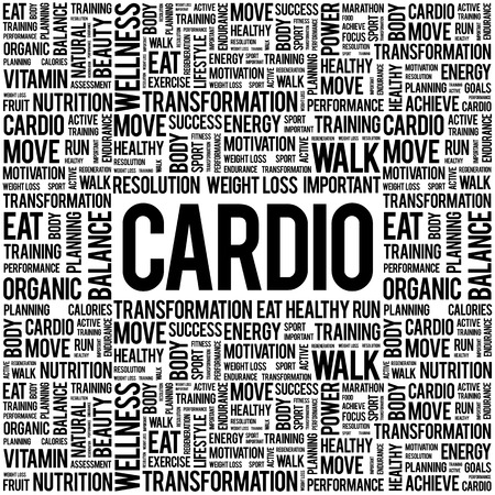 cardio: CARDIO word cloud background, health concept