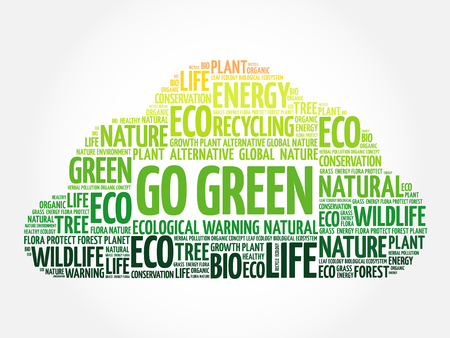 eco notice: Go Green word cloud, conceptual green ecology background