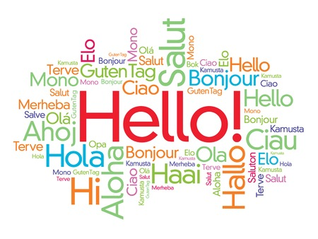 Hello word cloud in different languages of the world, background concept Vectores