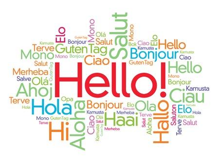 Hola nube de palabras en diferentes idiomas del mundo, el concepto de fondo Ilustración de vector