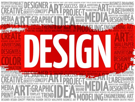 business words: DESIGN word cloud, creative business concept background