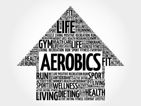 aerobic treatment: Aerobics arrow word cloud, health concept