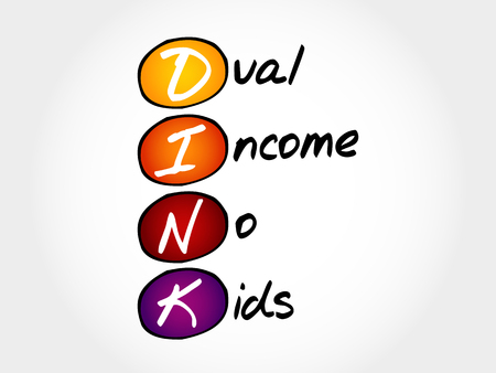 acronym: DINK - Dual Income No Kids, acronym concept Illustration