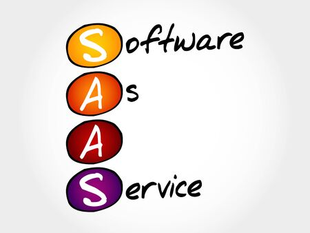 saas: SAAS - Software As A Service, acronym business concept Illustration
