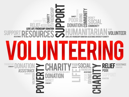 volunteering: Volunteering word cloud concept Illustration