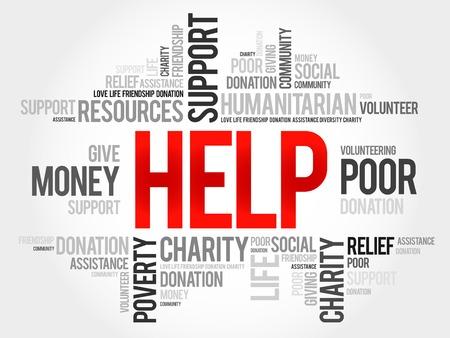 needy: Help word cloud concept Illustration