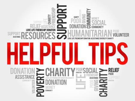 helpful: Helpful tips word cloud concept