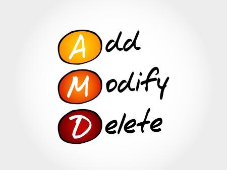 modificar: AMD - Añadir, modificar, borrar, concepto de negocio acrónimo